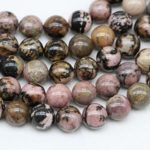 1strand Lot Natural Stone Black Lace Rhodonite Bead Round Loose Spacer Beads For Jewelry Making Findings Diy Bracelet Necklace H bbyxbo