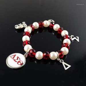 Delta Sigma Theta Sorority DST Greek White Pearl Red crystal cutom DIY charm elastic Bracelet Jewelry1