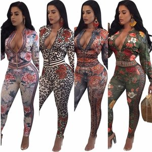 S-3XL autumn winter fashion sexy women printed two pieces suits casual nightclub party tracksuit SMR8771 C1114