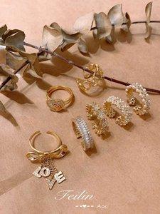 Diamond Inlaid Жемчужное Женское безразличие Открытое кольцо в FashionVT