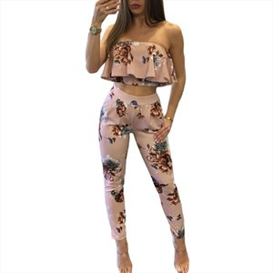 New Fashion Sexy Casual Women Suit Sexy Two piece Outfits Strapless Crop Top Long Pants Floral Print Ruffles Bodycon Set Pink