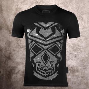 독일 패션 브랜드 PP 기계 두개골 머리 인쇄 뜨거운 드릴 남자 인쇄 필립 일반 캐주얼 라운드 넥 슬림 얇은 짧은 소매 티셔츠