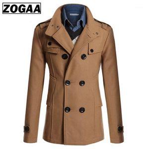 ZOGAA Man's New Windbreak Coat Man's Solid Cotton Outwear Male Double Breasted Turn-down Collar Coat Men's England Style Outwear1