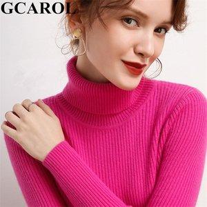 GCAROL Automne Winter Femmes Turtleneck Cashmere Slim Pull 30% laine Chaud Stretch Stretchy Jumper Render Render Pull tricoté 2XL 201221