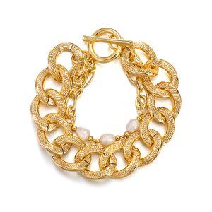 Punk Multilayer Thick Chain Pearl Bracelet Rock Jewelry Golden Geometric Chain Lock Charm Bracelet for Women Accessorries