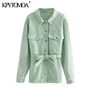 KPYTOMOA Women Fashion With Belt Pockets Loose Denim Jacket Coat Vintage Long Sleeve Side Vents Female Outerwear Chic Tops 201012