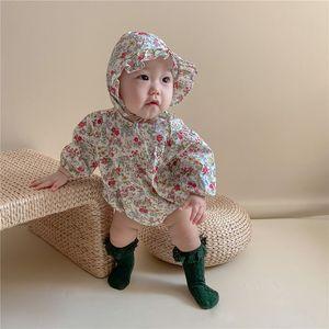 Milancel 2021 Printemps Nouveaux Baby Girls Vêtements Floraux Baby costume Body fille bébé Body avec chapeau Vêtements d'extérieur pour bébé F1221