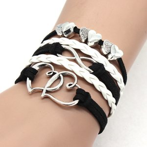 Leather Double Weave Heart Wrap Bracelet Multilayer Infinity Women Bracelets Fashion Jewelry Will and Sandy Gift