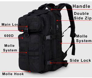 600d Backpack Rucksack Bag Waterproof Tactical Assault Molle Pack 35l Sling Backpack Army Rucksack Bag for Outdoor Hiking Camping Hunting