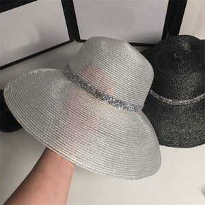 Summer Beach Straw Hats For Women Silver Knitted Sunscreen Hats Outdoor Wide Brim Floppy Caps For Adults