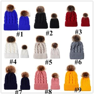 9 Colors Beanie Winter Warm Parent-child Crochet Hats Children Adults Knitted Caps Outdoor Fashion Skull Cap with Big Pom Pom Hat E101905