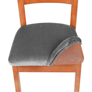 Spandex Elastic Seat Cover Home Winter Solid Color Removable Washable Dustproof Velvet Chair Covers Dining Chairs Cushion Hot Sale 7zf M2