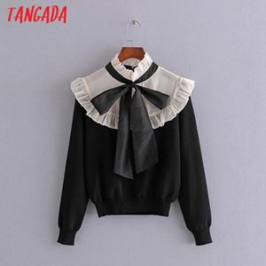 Tangada Femmes Organza Pathcwork Pull tricoté Jumper Col à l'arc de l'arc Pullovers Chic Tops 3H724