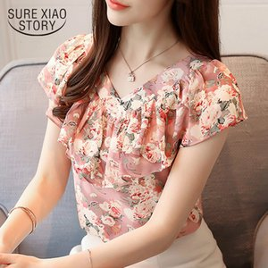 Summer Blouses Women Shirts Chiffon Fashion Plus Size Floral Print Women's Tops Short Sleeve Women Clothing Blusas 0464 30 Y200930