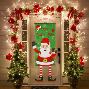 Merry Christmas Hanging Door Banner Ornaments Christmas Decorations for Home Outdoor Xmas Decor New Year Banner flag gift Free Shipping