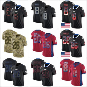 New YorkGiantsMen #8 Daniel Jones 26 Saquon Barkley Women YouthNFL Limited Rush USA Flag Jersey