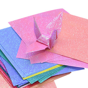 50pcs Multi Size Square Origami Paper Single-sided Glitter Folding Solid Color Papers For Kids Handmade Carfts DIY Scrapbooking