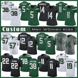 14 Sam Darnold NY Custom Männer Frauen Kinder Fußball Jersey 5 Joe Flacco 11 Denzel Mims 12 Joe NamatH 77 MEKHI BECTON 57 C.J. Mosley 24 Revis