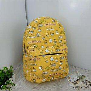 Studentesse borse pigro Egg stampati bambini Zaini del fumetto giallo Gudetama pigro Egg Scuola Backpack08