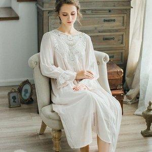 CFYH New Outono Inverno Pijamas Ladies sólidos Vestidos Princesa Long Sleeve Nighties Modal Lace Interior Roupa Sexy Nightgowns F5Fv #