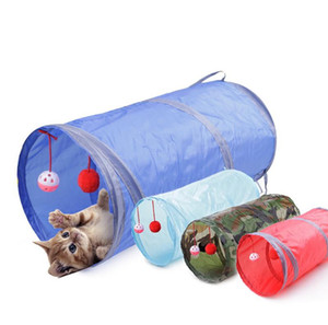 Funny Pet Cat Tunnel 2 Holes Play Tubes Balls Collapsible Crinkle Kitten Toys Puppy Ferrets Play Dog Tunnel Tubes