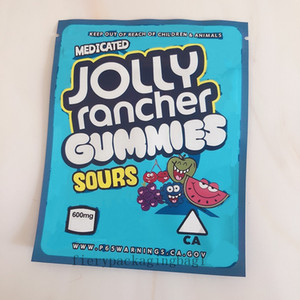 Newest Jolly Rancher Gummies Bag 600mg Sour Resealable Medicated Edibles Package Mylar Bags JOLLY Rancher 2021