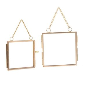 Creative DIY Chain Retro Metal Photo Frame High Translucent Glass Photo Frame Specimen Folder 2 Size Optional