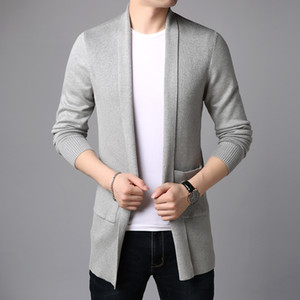 2020 New Fashion Brand Sweater For Mens Cardigan Long Slim Fit Jumpers Knitred Overcoat Autumn Korean Style Casual Men Clothes 0927