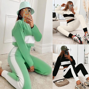 Women Zipper Sweatshirts High Waist Pants Long Sleeve Turntleneck Patchwork Top Sports Trousers Two Piece Set Tracksuit Outfifs