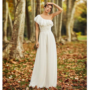 Simple Ivory Jumpsuits Wedding Dresses 2021 New One Shoulder Ruffles Country Bridal Gowns Women Casual Pant Suits Reception Wedding Dress