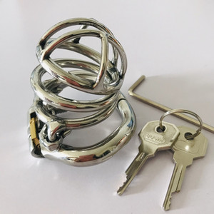 China Factory Metal Penis Lock Adult Sex Toys Arc-Shaped Stainless Steel Male Chastity Device Cock Cage CS051 with Anti-spike Ring