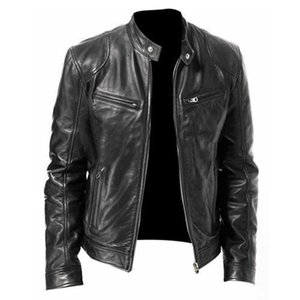 2020 Autumn Male Leather Jacket Plus Size Black Brown Mens Stand Collar Coats Leather Biker Jackets Motorcycle Leather Jacket 1111