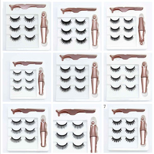 3 Pairs Magnetic Eyelashes False Lashes + Liquid Magnetic Eyeliner + Tweezer Eye makeup set 3D Magnet False Eyelash Cosmetics Tools F101907