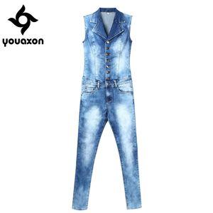 2043 Youaxon Women`s Plus Size Brand New Fashion Blue Stretch Denim Skinny Slim Fit Pants Jumpsuit Jeans For Women Jean Overalls 200930