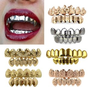Hop Up Cosplay Gifts Dental Rapper Jewelry Party Punk Mouth Hip 18k Grills Gold Grillz Teeth Tooth Cap Real Bottom Fang Braces bbyzf