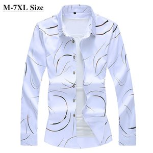 Autumn New Men's Printed Shirt Fashion Casual White Long Sleeve Shirt Male Brand Clothes Plus Size 5XL 6XL 7XL 201021