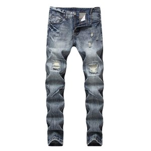 HOO 2020 men straight jeans hole affixed cloth light denim trousers
