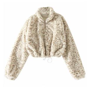 SeebeAutiful Leopar Ptinting Büyük Boy Ceket Kaban Standı Yaka Uzun Kollu Fermuar Yeni Moda 2020 Kış Kadın M538