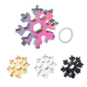 18 в 1 Snowflake брелоков Многофункциональный гаечный ключ EDC инструмент Портативный нержавеющей стали брелок Отвертка открывалки CCA12592