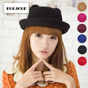 2019 Cute Parent-child bowler hat wool Fedora hats for Women Girls Children Cat Ear formal cap