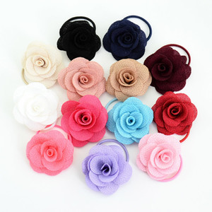 13pcs lot 1.8 Inch Boutique Flower Girl Bow Elastic Hair Tie Rope Hair Band bows Hair Accessories 698