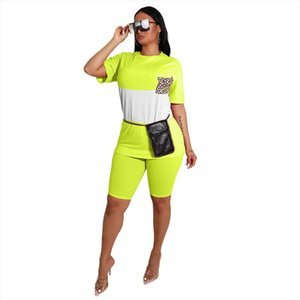 2020 New Summer Womens Two Piece Biker Shorts Sets T shirts Top Biker Shorts Jogger 2 piece Set Casual Active Tracksuit Outfit
