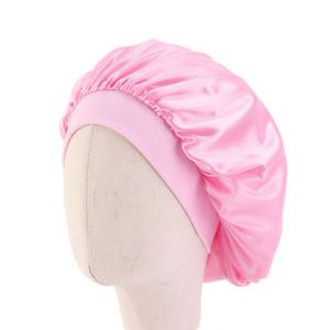 Child Satin Silk Fitted Sleep Hats Head Wrap Broad Brim Hair Bonnets Elastic Candy Color Bath Hat Circular Shower Room Accessories 4 22ba B2