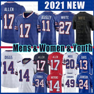 Stefon Diggs Josh Allen Buffalo Football Jersey Tre'Davious White Tremaine Edmunds Cole Beasley Zack Moss Kelly Thurman Thomas Gabriel Davis