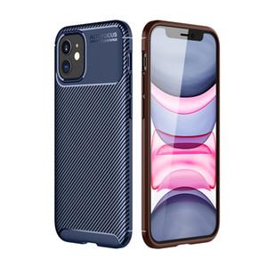 Texture fibre de carbone peau cas de téléphone pour Iphone 12 Mini silicone souple TPU ultra mince anti-choc mince Armure Téléphone Couverture