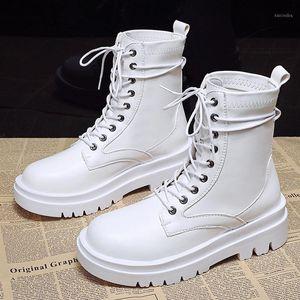 Bottes blanches cheville femmes 2021 mode automne en caoutchouc Soles Combat Punk chaussures gothiques Plate-forme Noir pour femmes1