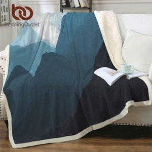 BeddingOutlet Горный пейзаж Одеяло для кровати Природа красоты плед Туманный Туманный Плюшевые Покрывало синий Пользовательские Одеяло 150x200cm