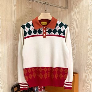 Artistic style diamond-shaped contrast color knitted polo shirt fashionable British elegant Plaid slim-fit lapel sweater for men