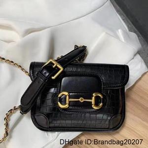body Messenger Bag Purse Fashion Crocodile Pattern Chain Single Shoulder Cross Mini Horsebit Hasp Genuine Leather Bags