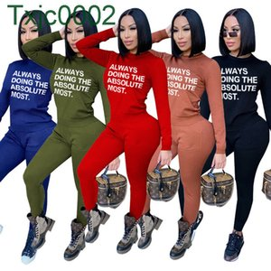 Designers Women Sweat Suits Two Piece Outfits New Fashion Slim Tracksuit 2021 Spring Letters Print Long sleeve Pants Suit Clothes